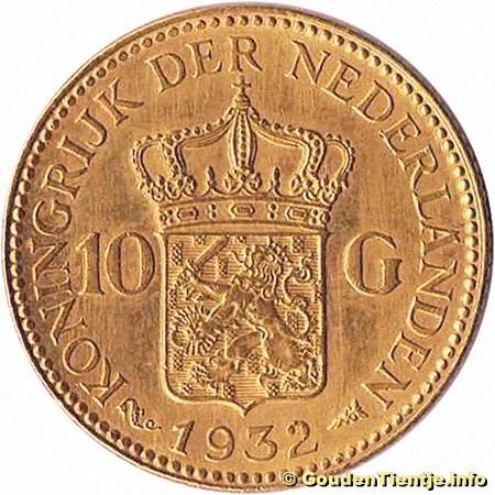 gouden munt wilhelmina 1933